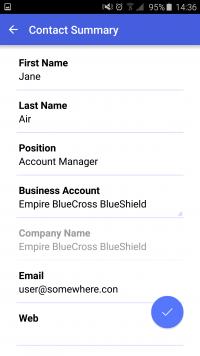 Acumatica ERP Mobile App - Contact Detail