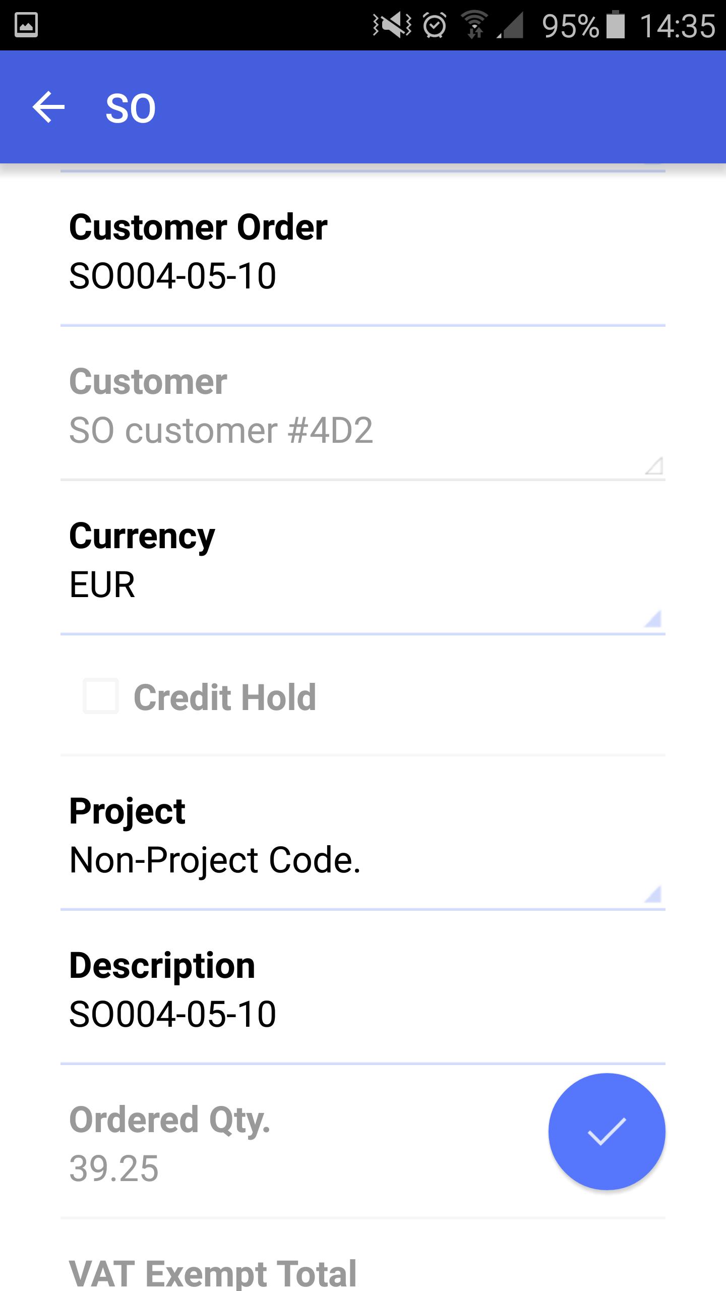 Acumatica ERP Mobile App - Sales Orders